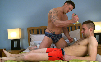 Young Pup Jasper get his 1st Manhandling & Man Blow & Shoots Loads of Cum!