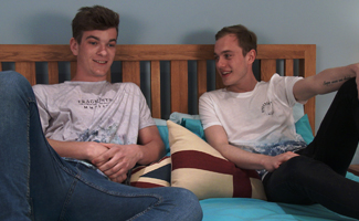 Englishlads.com: Young Straight Lads Luke and Caspar Spank & Wank each Others Uncut Cocks!