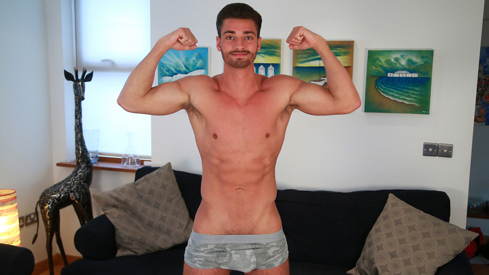 Tall & Ripped Young Footballer Shows his Massive Uncut Cock & Shoots Cum Every Where!