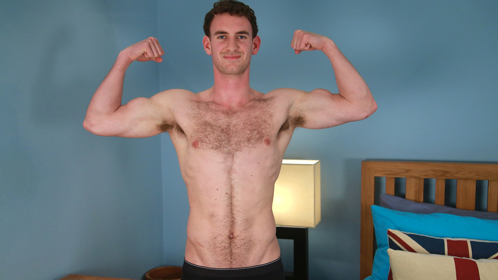 Hairy Young Rugby Player Paul Shows Off His Muscles & Lovely Long & Meaty Uncut Cock!