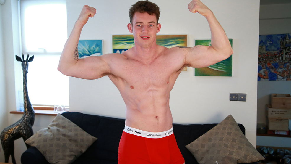 Tall & Muscular New Lad Tom Shows us his Massive 9 Inch Uncut Cock!