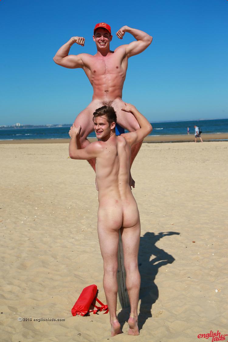 Platinum blonde naked guys on beach