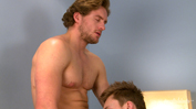 Straight Hunk Aaron Gets his First Man Blow Job & Shoots Cum Everywhere!