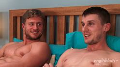 Straight Hunk Aaron Wanks Ellis' Rock Hard Uncut Cock and both shoot loads of cum everywhere