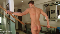 Straight Lad Charles Strips & Wanks his Uncut Cock, Shoots his Cum Sky High!