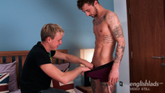 Straight Lad Barclay Stuffs his Big Uncut Cock up Chris's Ass Who Cums Buckets!