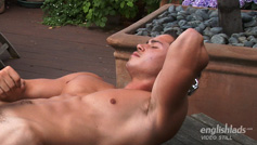 Young Hairy Straight Pup Connor Shows His Muscles and Big Uncut Cock!