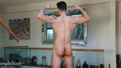 Muscular Athlete Cristian Wanks his Big Uncut Cock & Squirts Jizz Everywhere!