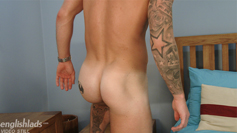 Muscular and Ripped Stud Hudson Scott Pumps his Hole while Wanking His Uncut Cock!