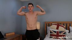Straight Hunk Hunter Hay back for a Massage and 1st Wank from a Man, Big Shooter!