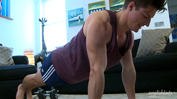Straight Athlete Jasper Pumps Up His Body & His Uncut Cock Explodes!