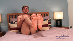 Sexy Hunk Miles shows off his Large Uncut Cock and Plump Balls & Cums all over himself