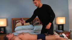 Young Straight Rugby Stud Oli Lennox's 1st Manhandling and Man Wank - with his Big Uncut Cock!