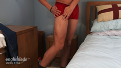 Straight Young Footballer Quinn Williams - Long Legs & Long Uncut Cock & Shoots a Big Load of Cum!