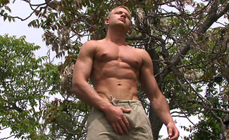 Str8 PT Callum Strips out his Bulging Shorts and Punps out a big Load!