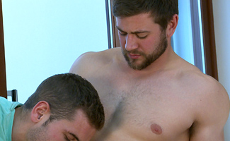 Muscular Straight Lad Cory gets his 1st Man Blow Job & Shoots Across His Whole Body!