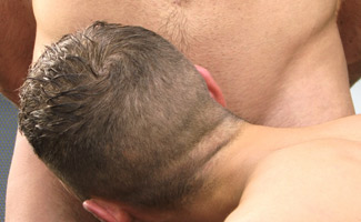 Straight Hunk Jay's First Blow Job from a Guy - Lucky Danny Fills his Mouth!