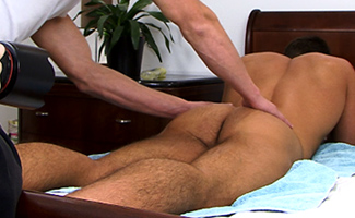 Bonus Video of Drew Daniels' Photo Shoot - Muscled Uncut Stud gets his First Hand Job from a Guy