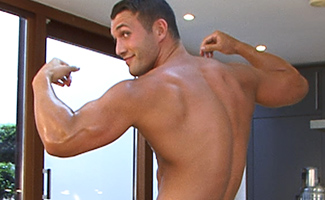 Bonus Video of Photo Shoot - Straight Muscular Hung James Branson Pumps Out a Load!
