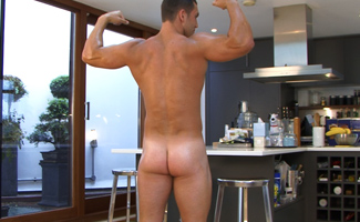 James Branson Bonus Video of Photo Shoot - Straight Muscular Hung James Branson Pumps Out a Load!