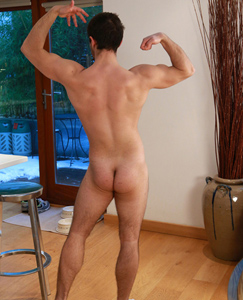 Englishlads.com: Hairy Straight Young Personal Trainer Chris Pumps His Uncut Cock & Splurges A Big Load!