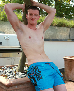 Englishlads.com: Lean Footballer Nate Enjoys Showing off in the Sun Shine - A Very Hard Uncut Cock & Hair Free Hole!