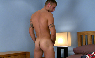 Muscular Straight Hunk Jake Show off His Toned & Hairy Body & Rock Hard Uncut Erect Cock
