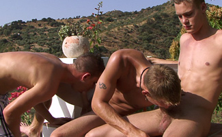Str8 lads Liam & Zack in the Steaming hot sun - Hope the G/f's dont see this one!