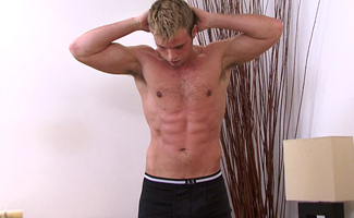 Straight hunk Hayden Harris - strips off and lets Kev ravage him with a toy!
