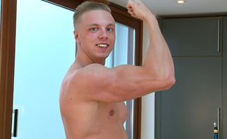 Young Str8 PT Lewis Shows off his Muscular Body & Solid Uncut Cock!