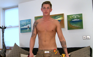 Lean Young Electrician Hunter Shows Off His Big Uncut Cock & Hairy Hole!