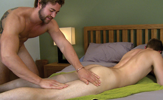 Muscular Rugby Stud Cory gets Massaged & his 1st Man Blow Job & he Wanks Jack!
