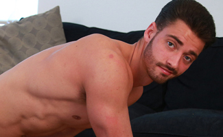 Straight Ripped Footballer James Wanks his Huge Uncut Cock and Cums on his Chest and Abs!