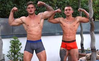 Straight Brothers Jamie & Rowan Black - Two Muscled Guys - Two Hard Uncut Cocks!
