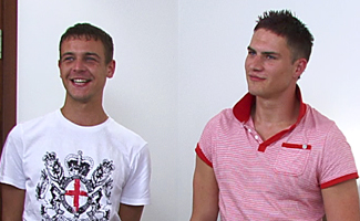 Str8 Blue Eyed Hunk Josh lets Jason be the first man to Suck his Cock!