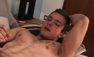 Young Straight Muscular Pup Lewis Pumps his Uncut Cock to a Big Messy End!