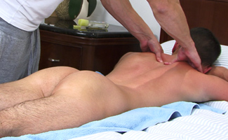 Young Pup Oli Hall Lies Back & Enjoys His First Massage & Wank from a Guy!