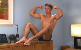Bonus Video of Paul Flynn's Photo Shoot - Hairy Straight Hunk Wanks his Rock Solid Uncut Cock