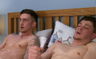 Straight Footballer Jon gets his first Man Blow Job & Sam gets Wanked in Return!