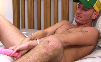 Deprived of Sex Sean is Bursting Full of Cum and After Playing With a 12 inch Dildo, Explodes!