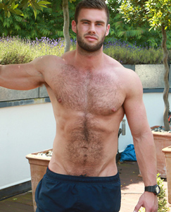 Men muscle hairy chest
