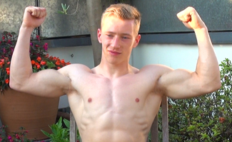 Bonus Video of Tom Wills Photo Shoot - Ultra Muscular Young Straight Lad Shows his Massive Uncut Cock!