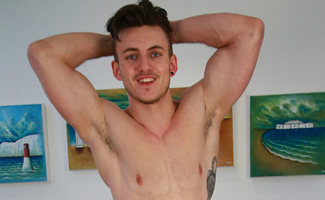 Ultra Ripped Young Athlete Travis Pumps his Uncut Erection & Shows That Hairy Hole!