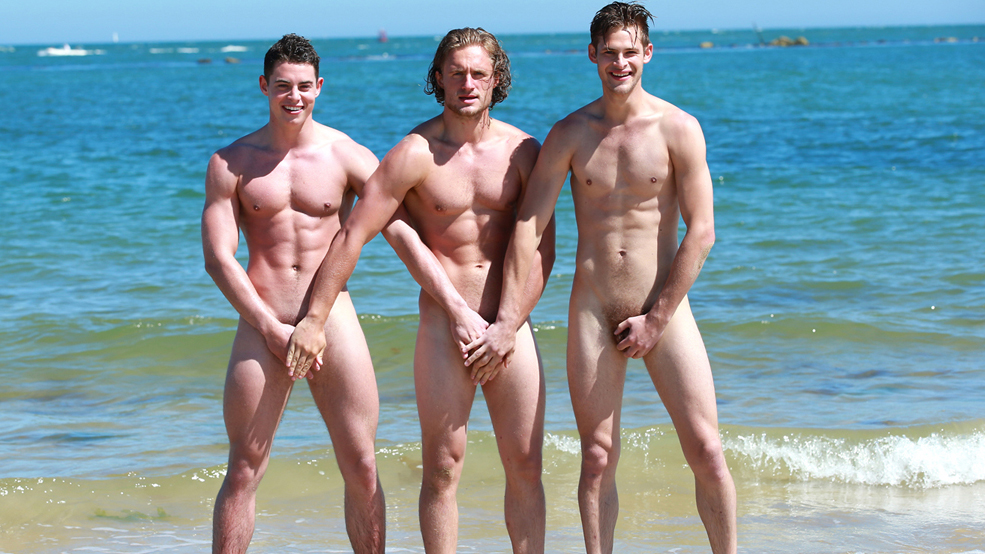 Bonus Photo Set of Jack, Damian & Aaron Playing on the Beach During the Making of the Calendar
