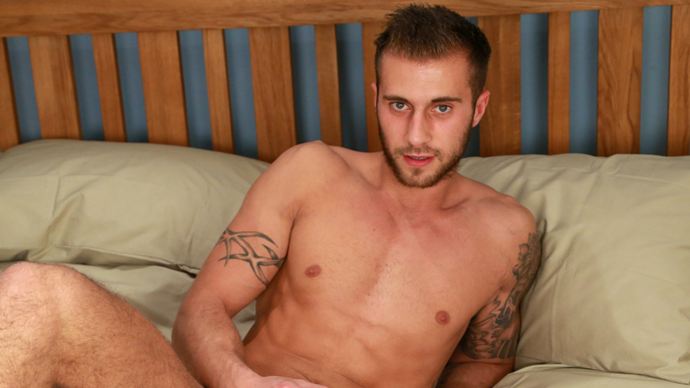 Muscular & Ripped Young Footie Star Jake Plays with a Dildo for the 1st Time!