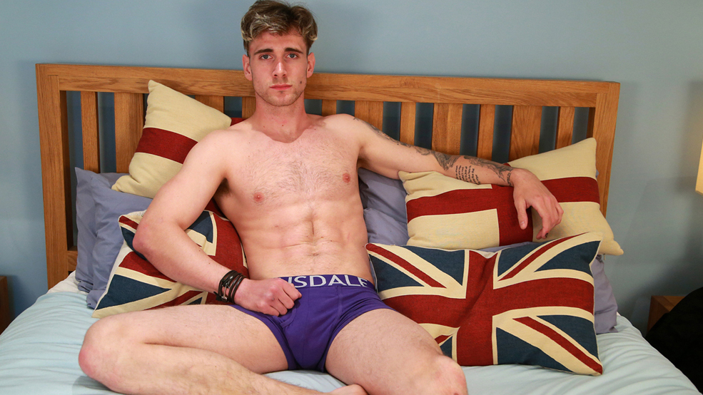Straight Hairy Hunk James Wanks his Eight Inch Uncut Erection & Shoots Big!