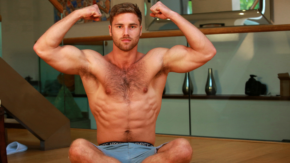Young hairy hunk men