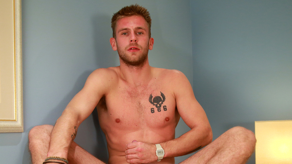 Toned Young Boxer, Jenson Shows off his Big Uncut Cock & Shoots Loads of Cum!