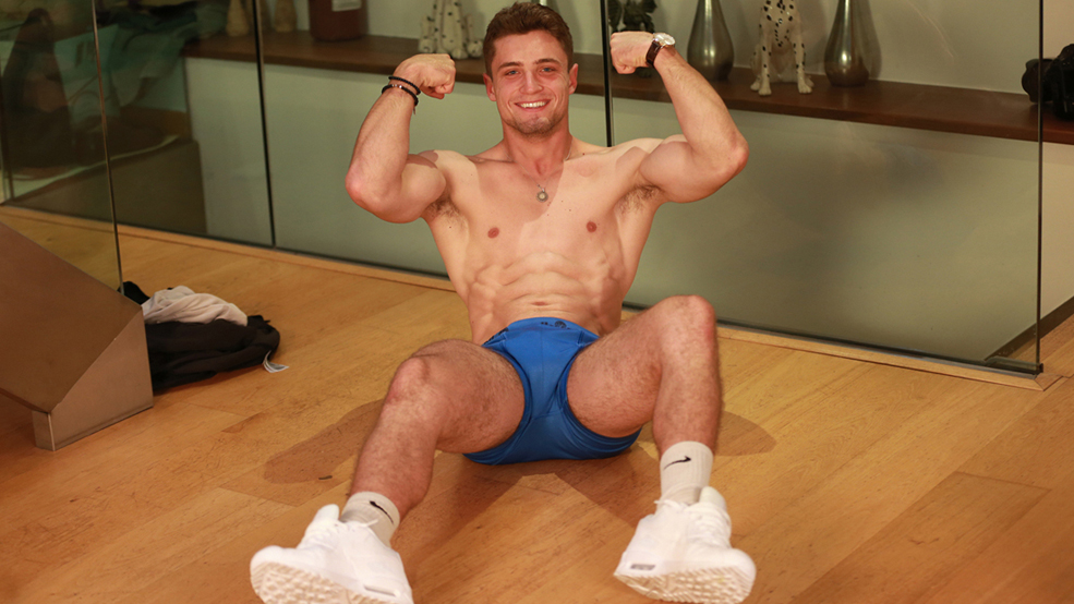 Young Athlete Matteo Shows his Ripped Body & Rock Hard Uncut Cock & Cums Twice!