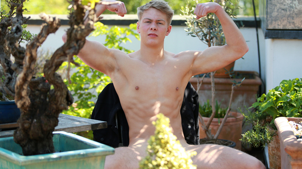 Young Athletic Straight Lad Declan Shows us his Muscled Body & Big Uncut Cock!
